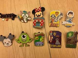 迪士尼襟章 hkdisneyland Disney pin 共10個(不散賣)