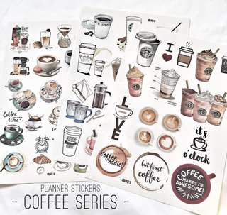 [Ready Stock] Planner Stickers - Coffee Series (Uncut)
