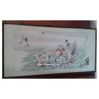 Vintage 八仙过海-墨人画 Chinese Painting