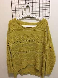🚚 圖騰設計感芥末黃毛衣