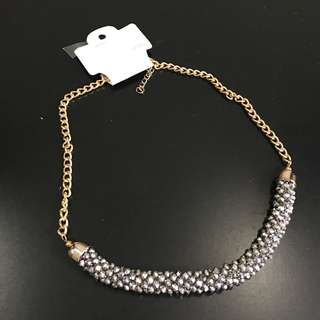 Korean - glittery golden necklace