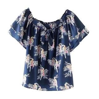 Foreign trade women's 2018 summer collar parrot print blouse