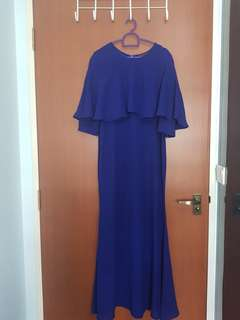 Electric Blue Cape 3/4 Sleeve Mermaid Dress