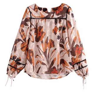 Europe and the United States fashion Jacquard head blouse cuffs with long-sleeved ladies shirt