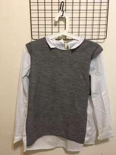 🚚 灰白假兩件襯衫