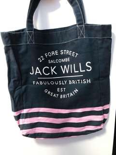 Jack Wills Tote Bag Navy and Pink