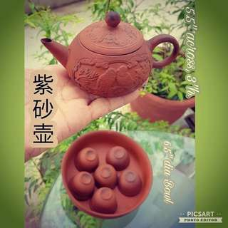 Vintage Zhi Sha Hu (Clay Teaset) with Teapot, Washing Bowl and 6pcs cups with porcelain lining. Used and has tea fragrance. Good Condition, no chip no crack. $68 Clearance Offer, Sms 96337309 for Price.