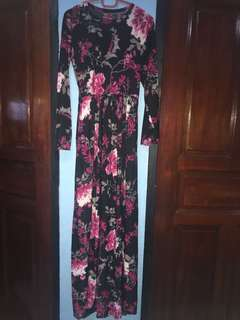 💄 Black Floral Pink Flowers U neck Round Neck Long Sleeve Maxi Dress Comfortable Casual Muslimah Fashion