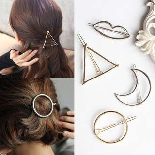 Circle gold hollow hair clip <Instock>