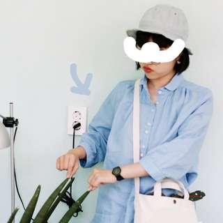 🚚 韓國帶回 水藍寬版復古襯衫