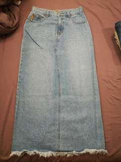 Vintage Back Spilt Maxi Denim Skirt
