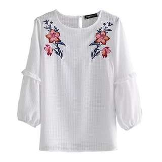 Europe and the United States wind summer round neck embroidery embroidery shirt