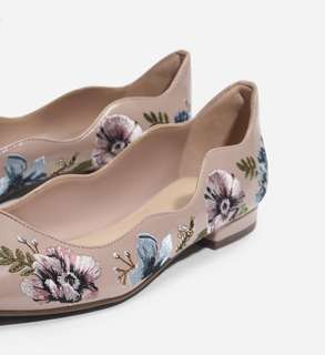Charles and keith scallop nude flats