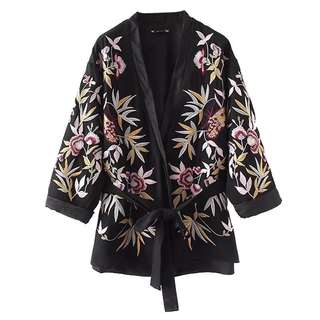 Europe and the United States wind heavy high-quality flower embroidery kimono jacket cardigan with a belt shawl