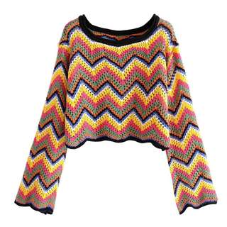 European and American style spring and summer models color hollow knitted sweaters trumpet sleeves short shirt