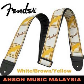 Fender 2 Inch Monogrammed Strap, White/Brown/Yellow