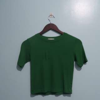Green Ribbed Cropped Top