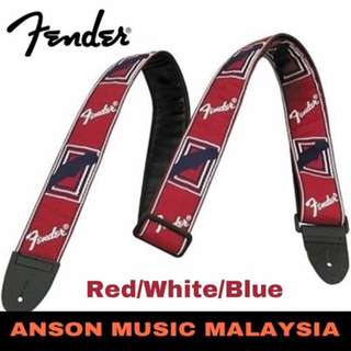 Fender 2 Inch Monogrammed Strap, Red/White/Blue