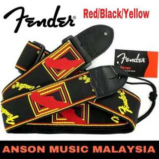 Fender 2 Inch Monogrammed Strap, Red/Black/Yellow