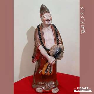 Vintage Ji Gong Hand-made Chinese Porcelain Figure. Large, not small (refer to photos).  Vivid Expression. Good Condition, no chip no crack. $68 Clearance Offer.