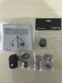 GoPro Tripod Mount, Mic Stand Mount and Curve/Flat Adhesive Mount