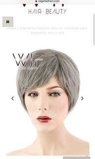 """9"""" STRAIGHT GREY SYNTHETIC WIG PL478"""