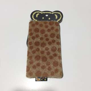 Brown furry mini pouch