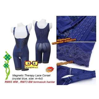 Magnetic Therapy Lace Corset (crystal blue, size: m-4xl)