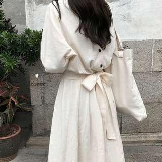 BN INSTOCK White Two-way Ribbon dress