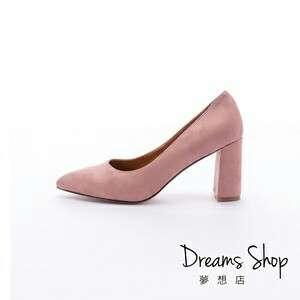 Dream's shop簡單時尚尖頭有型磨砂質感粗跟高跟鞋9cm(41-45)-粉色 42號