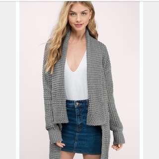 Tobi Serenity Grey Knitted Cardigan