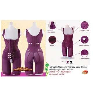 Ultraslim Magnetic Therapy Lace Corset (hitam/ungu, size: m-5xl)