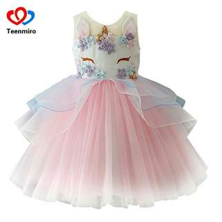 Fancy Kids Unicorn Dress for Girls Embroidery Flower Ball Gown Baby Girl Princess Dresses for Party Costumes