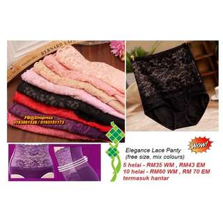 Elegance Lace Panty (free size, mix colours) 5 or 10 pcs (refer photo)