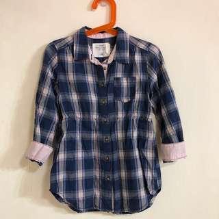 🚚 H&M女童格紋長版襯衫(適4-5y)