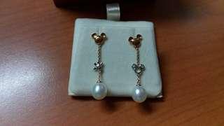 周大福 CTF 18K玫瑰金+白金淡水珍珠耳環