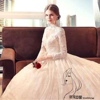 2018春夏欧美復古立领新娘结婚奢華宫廷長袖婚纱