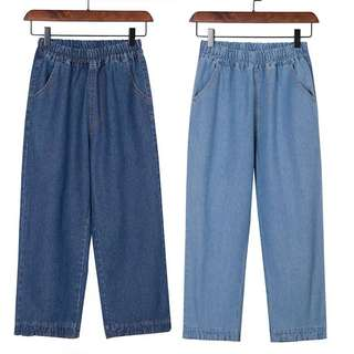 (S~5XL) Wide leg jeans female summer nine points bf Harajuku style loose straight pants