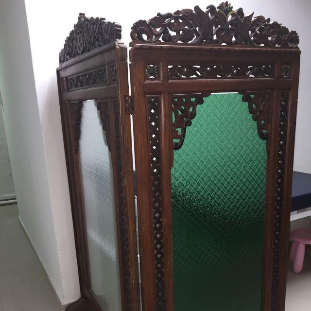 Antique 3 Panel Teak Wood Room Divider