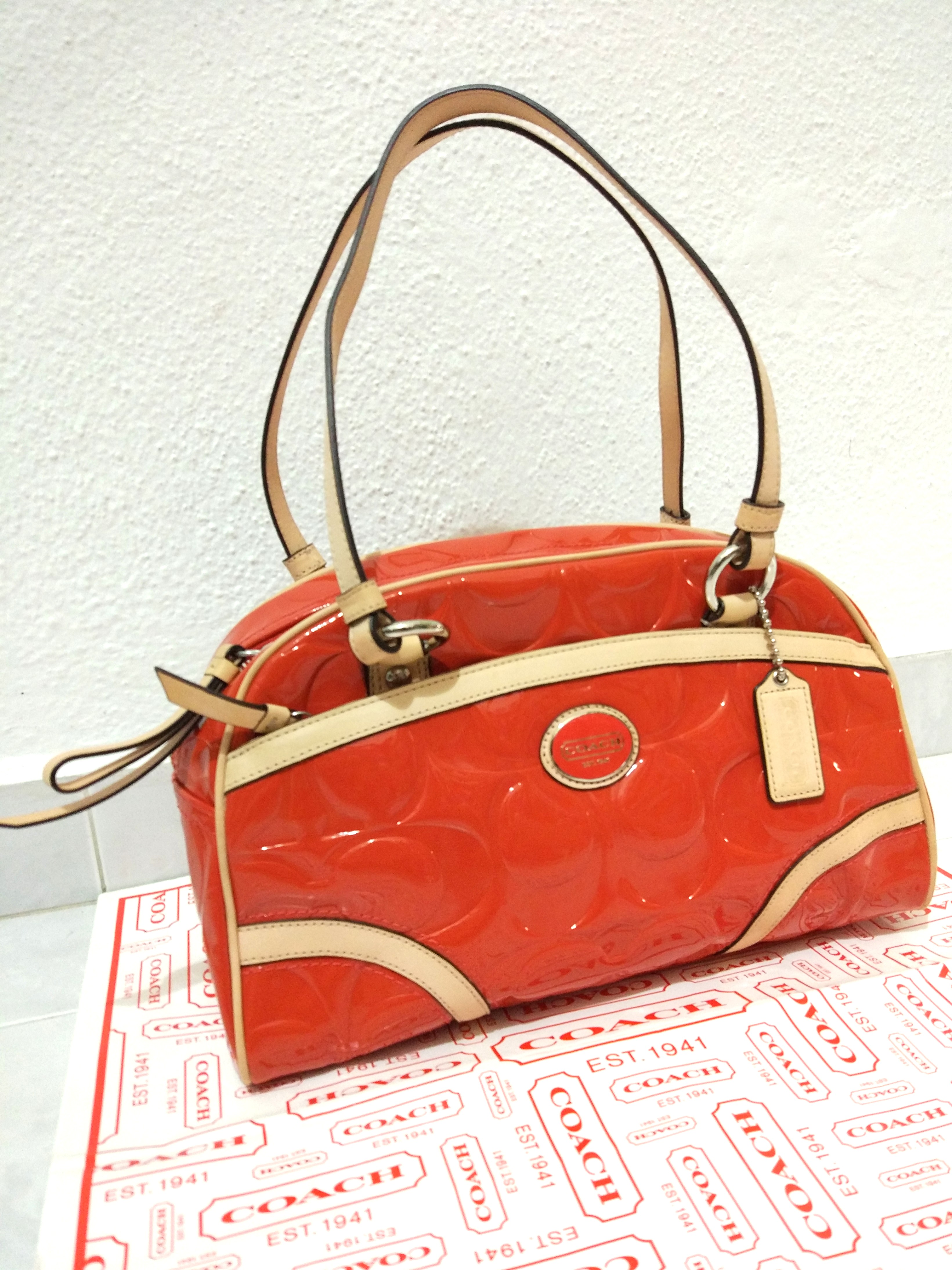 Authentic Coach Bag Tote F20065 Peyton Embossed Patent Leather Satchel Handbag Luxury Bags Wallets On Carou