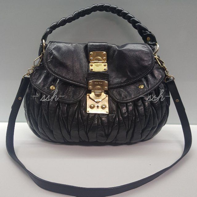 Authentic Miu miu Matelasse Coffer Black Lambskin Bag 47443c8cb042b