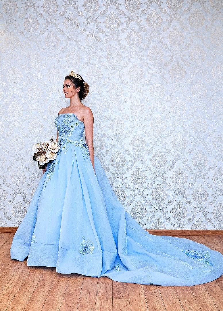 Blue Garden Evening Long Train Bridal Gown