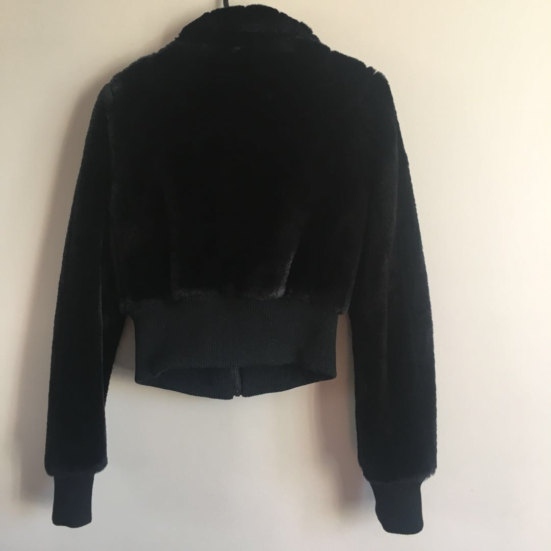 Brand New Black Faux Fur Cropped Jacket