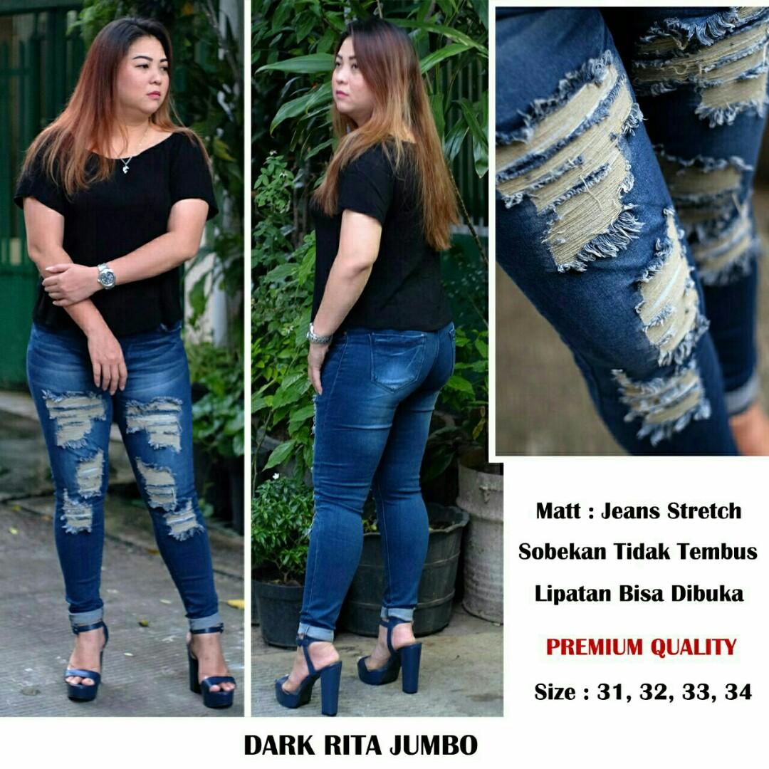 Celana jeans Dark Rita jumbo Jeans jumbo jeans sobek jeans big size, Olshop Fashion, Olshop Wanita on Carousell