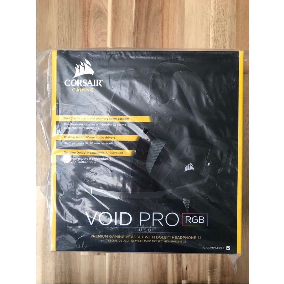 Corsair Void Pro Rgb Usb Gaming Headset Dolby 71 Surround Sound White Headphones For Pc Discord Certified 50mm Drivers Carbon Electronics
