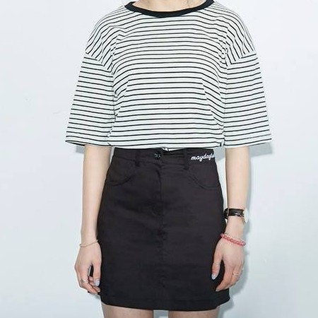 K-style embroidered A-line skirt