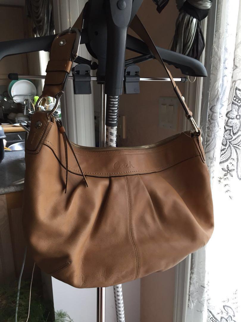 Large Authentic Coach Leather Beige Shoulder Bag