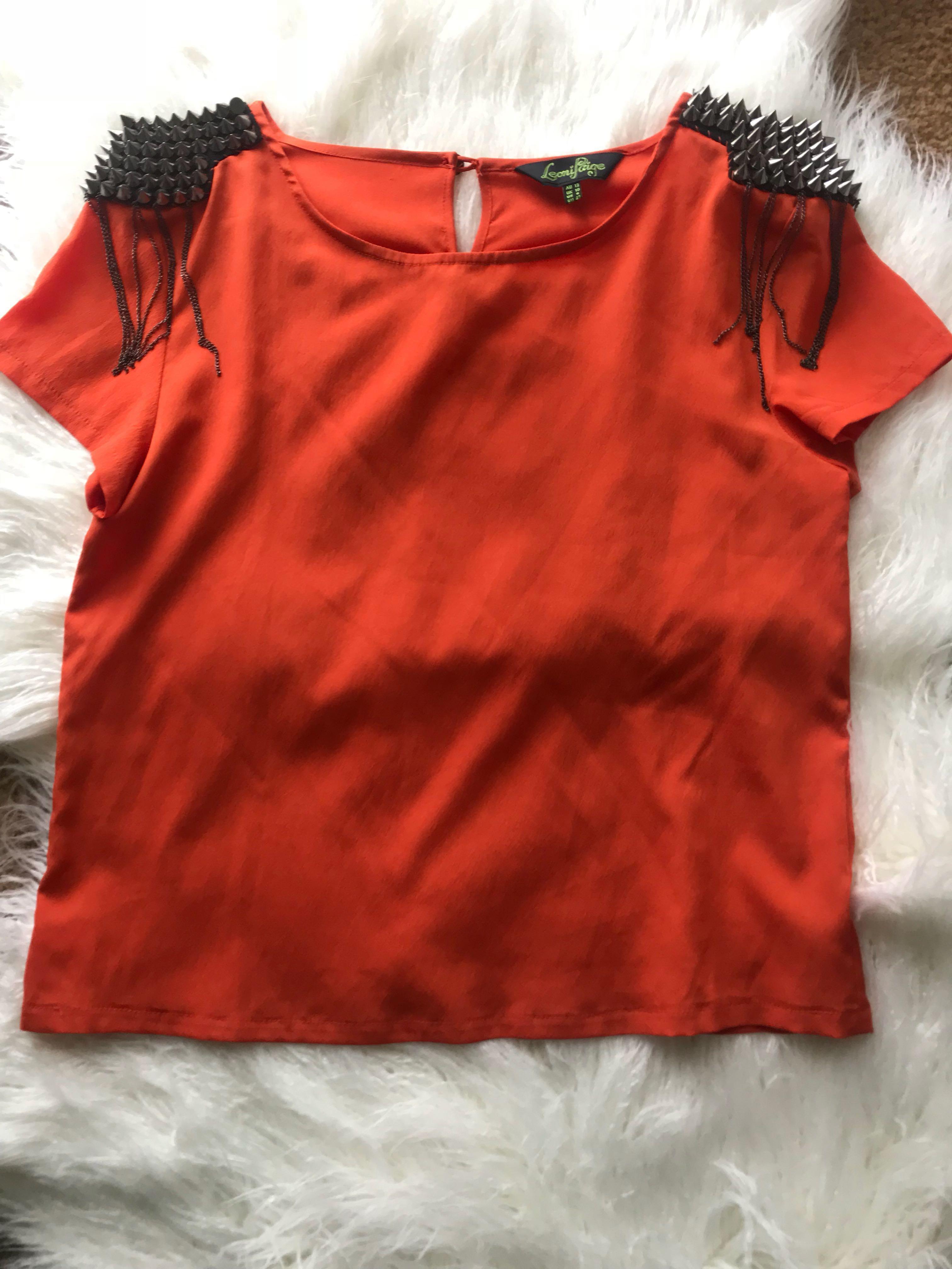 💕Leoni Page - Orange Studded Shoulder Top