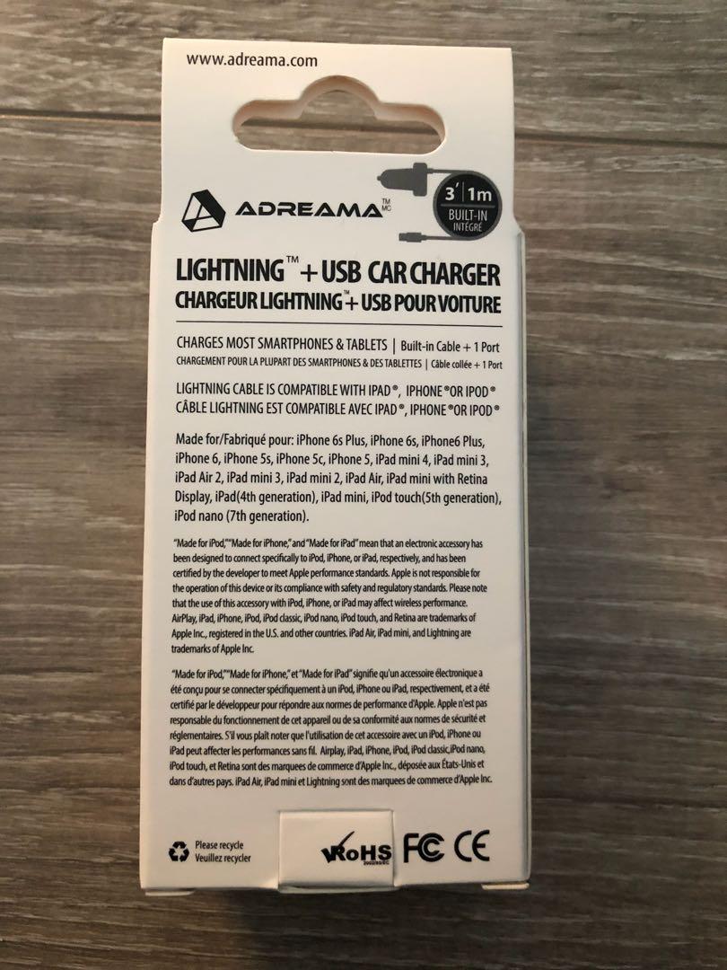 Lightning + USB car charger