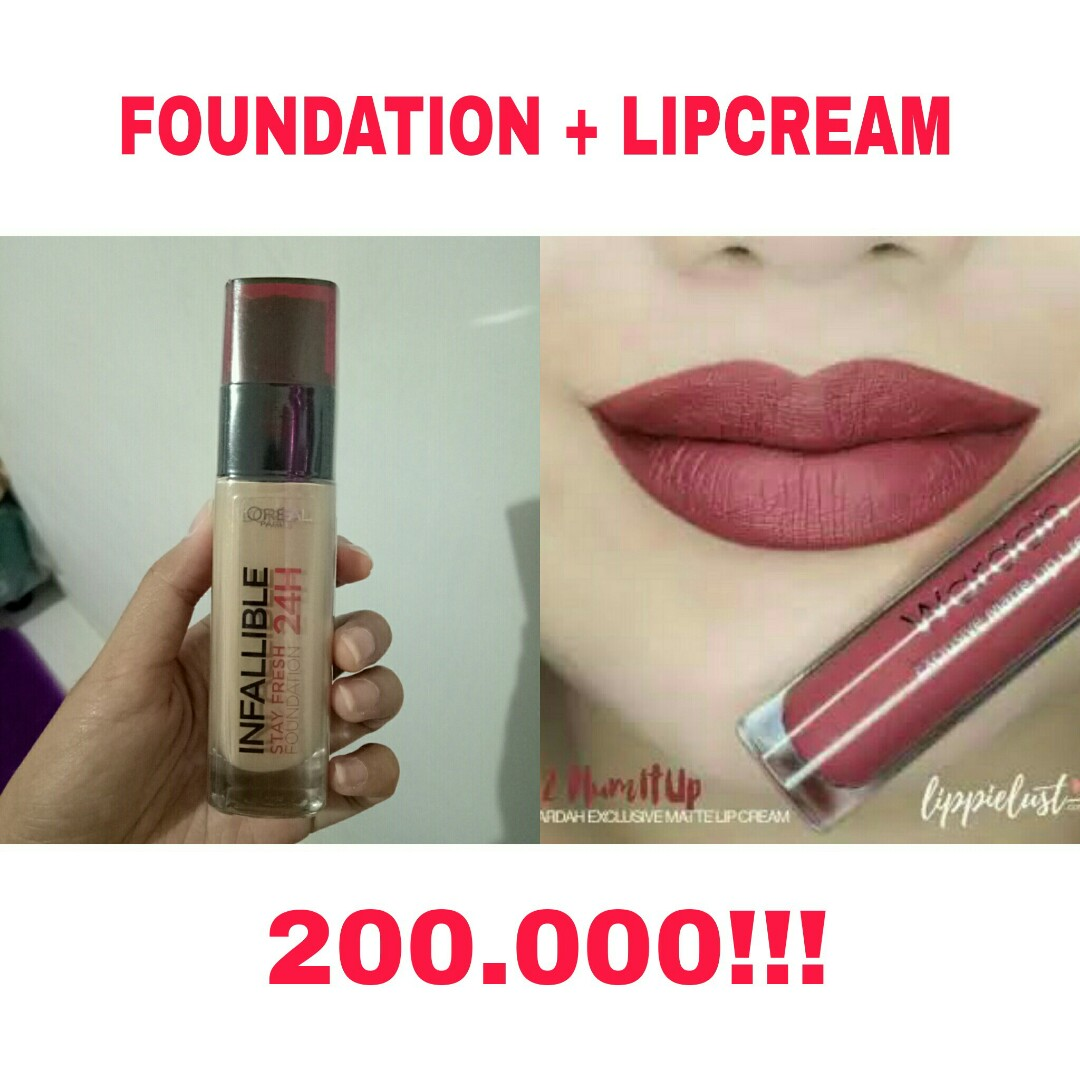 Loreal Infallible Stay Fresh 24h Foundation Wardah Exclusive Lipcream Matte Lip Cream Health Beauty Makeup On Carousell